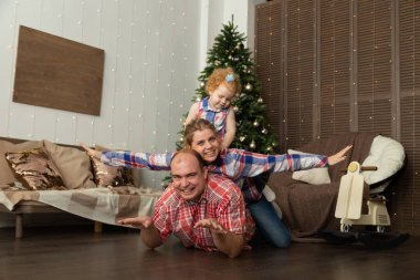 Happy family have fun in the new year. Merry Christmas 2020.