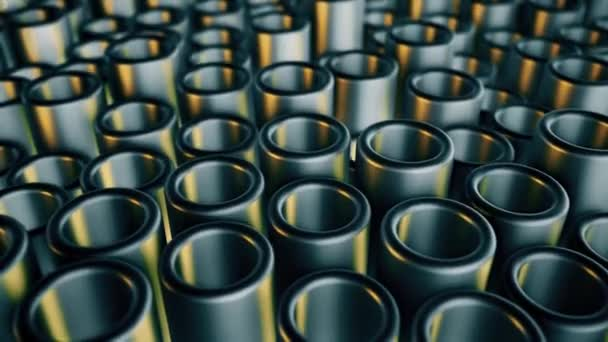 Metall bewegt Rohre. Abstrakter 4k Hintergrund.