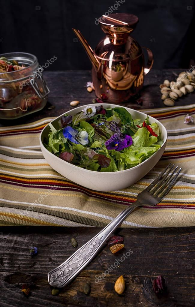 Colorfull Salad with Edible Flowers