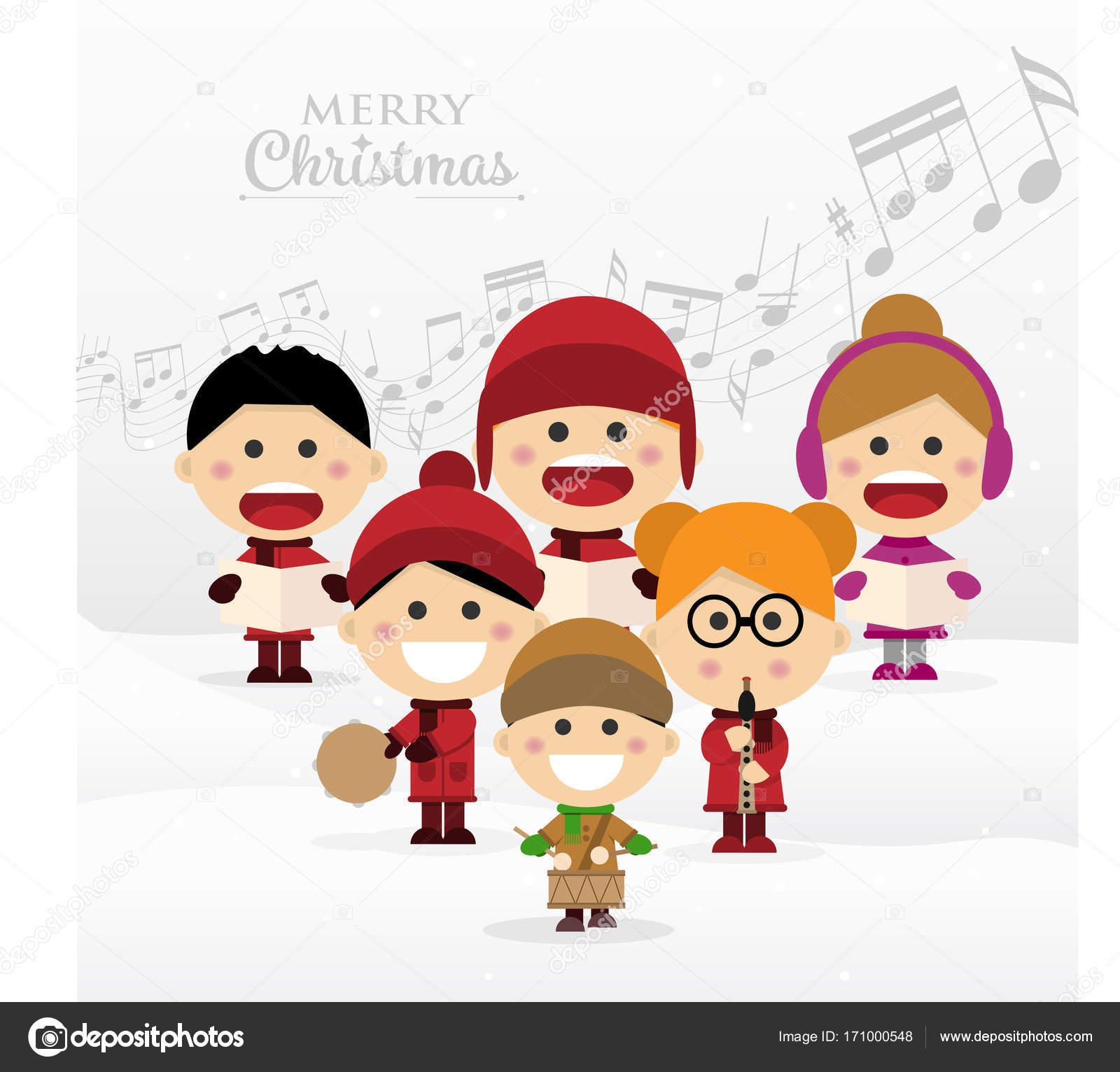 Weihnachtslieder Zum Singen.Gruppe Von Kinder Singen Weihnachtslieder Stockvektor Imaagio