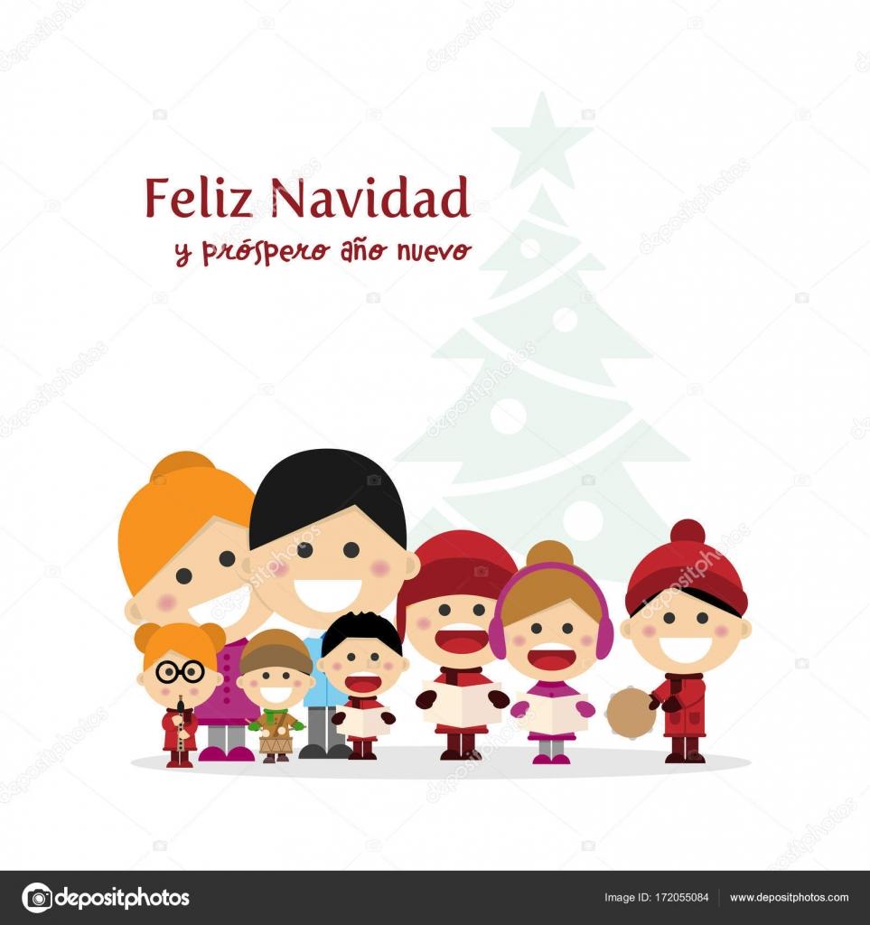 Spanische Weihnachtslieder.Nette Familie Singen Weihnachtslieder Weihnachten Nachts Mit Baum