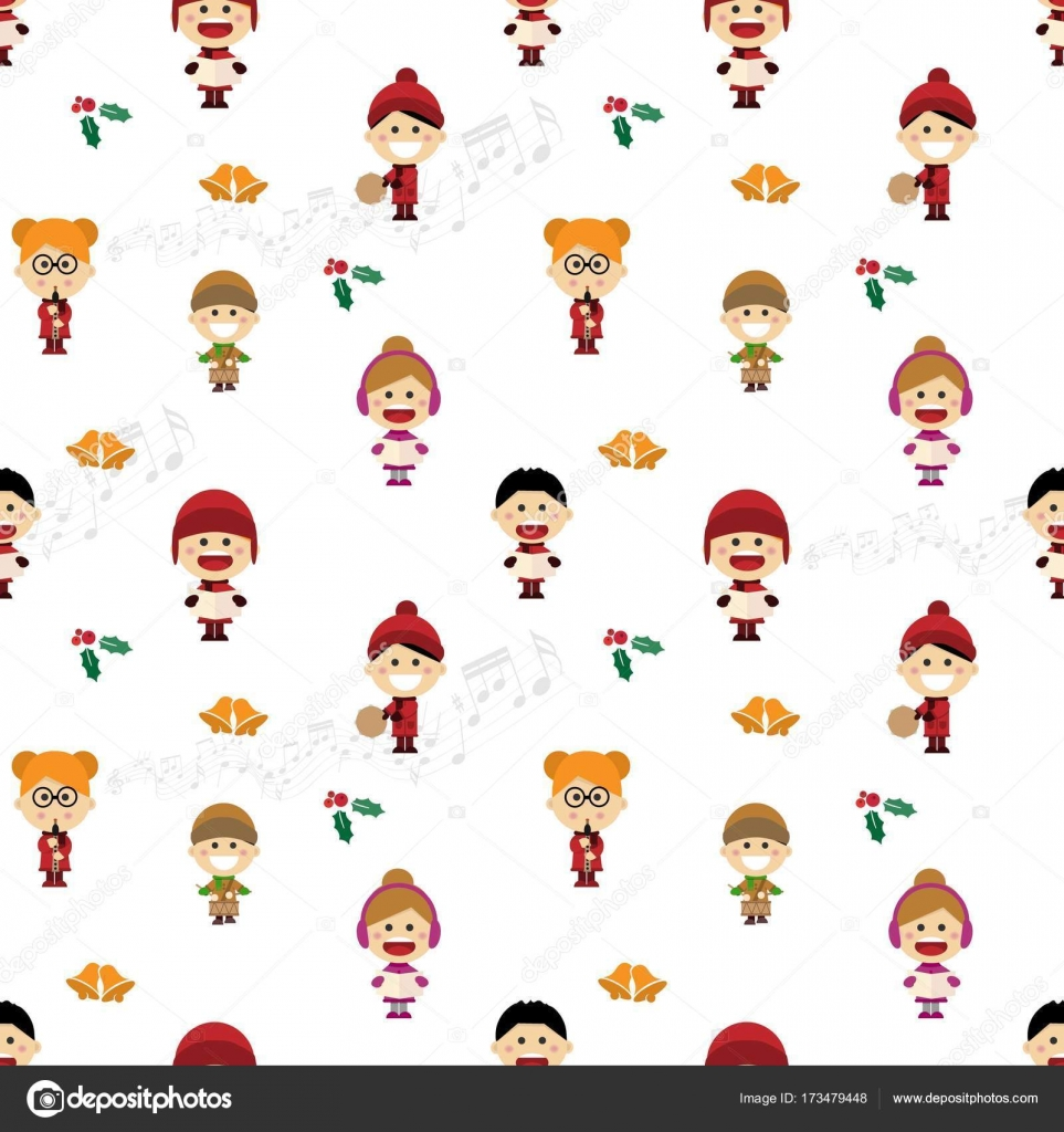 Weihnachten Musterdesign mit Kinder singen Weihnachtslieder ...