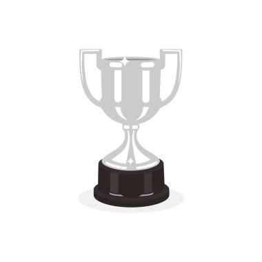 Trophy silver cup flat design on a white background. Award cup. Vector illustration