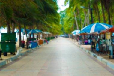 Blurred Background walkway Bangsaen Beach in thailand