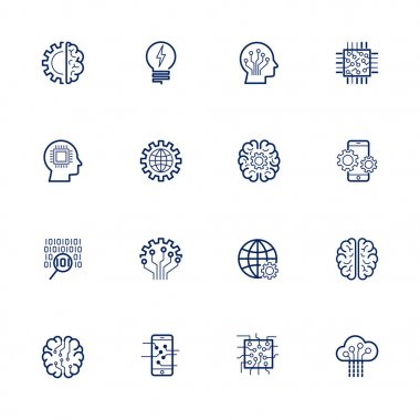 Artificial Intelligence Related Vector: Icon AI, robot, chipping, setting. Editable Stroke