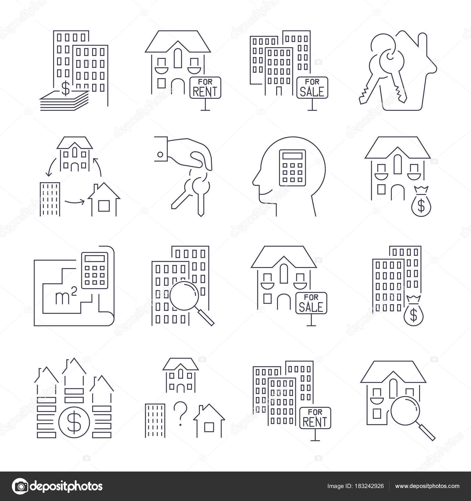 Real estate thin line art icons set residential and commercial real estate thin line art icons set residential and commercial building deals linear style symbols isolated on white icon set with editable stroke biocorpaavc Image collections