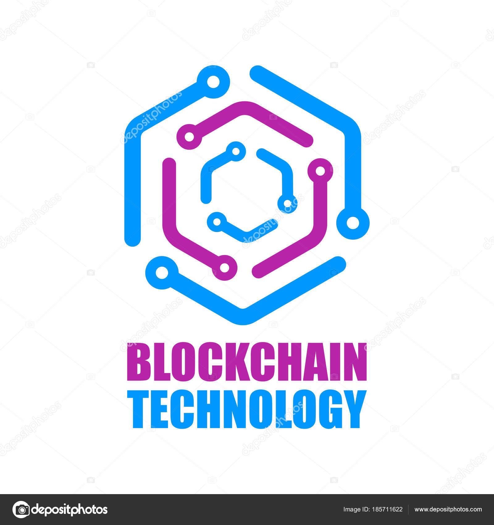 blockchain technology icon vector smart contract block symbol