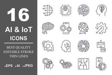 Set of machine learning line icons. Simple pictograms pack. Vector illustration on a white background. Modern outline style icons collection. Editable Stroke.