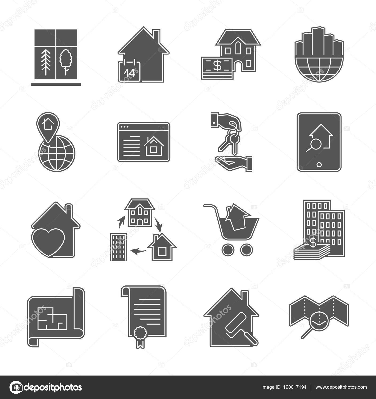Real Estate Art Icons Set Residential And Commercial Building Deals