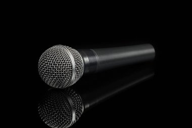 Dynamic microphone on black background
