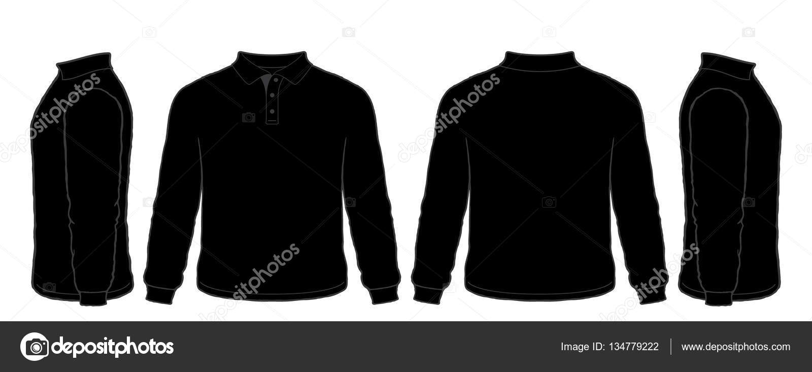 Blank black t shirt front and back - Black Long Sleeve Polo Shirt Vector Set Front Side Back Views Stock Illustration