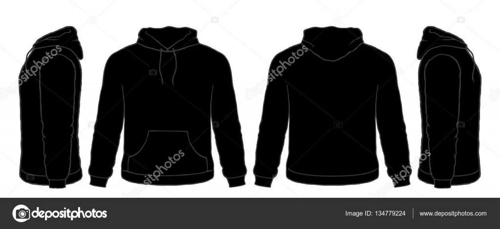Black Hoodie Sweatshirt Vector Set, Front, Side, Back ...