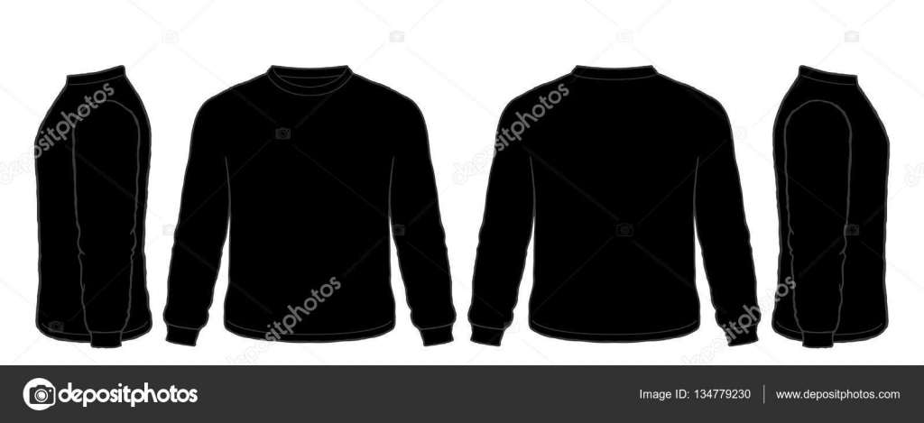 Black t shirt vector - Black Long Sleeve Tshirt Vector Set Front Side Back Views Stock Illustration