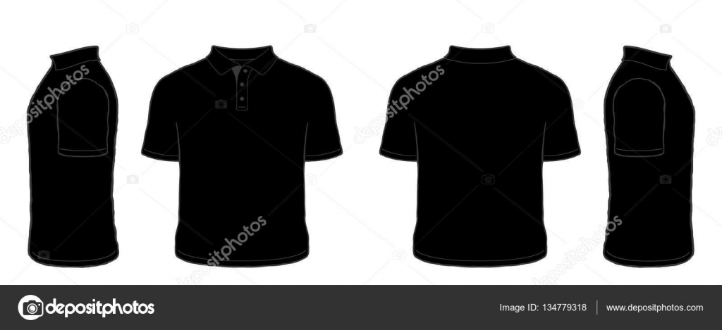 Black t shirt vector front and back - Black Short Sleeve Polo Shirt Vector Set Front Side Back Views Stock