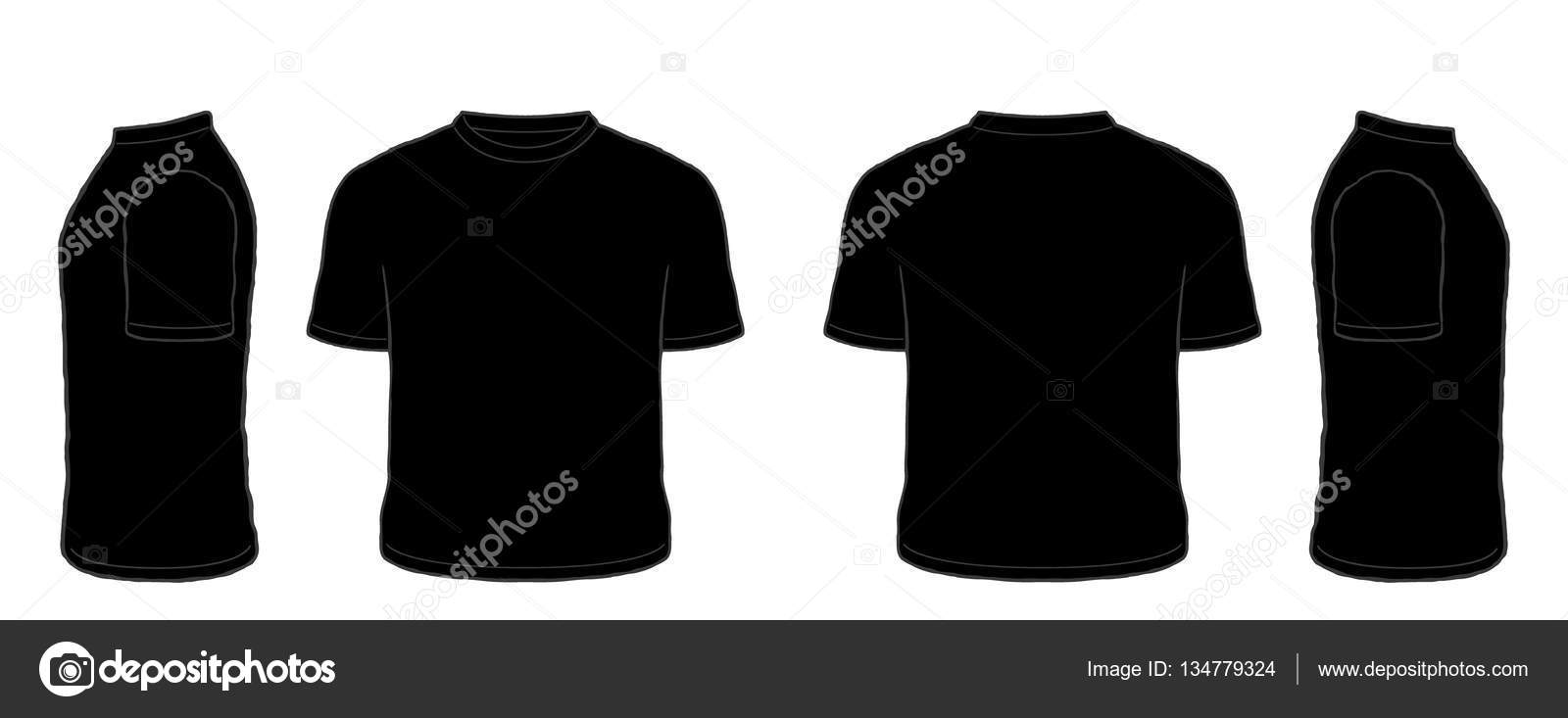 Black t shirt vector - Black Short Sleeve Tshirt Vector Set Front Side Back Views Stock Illustration
