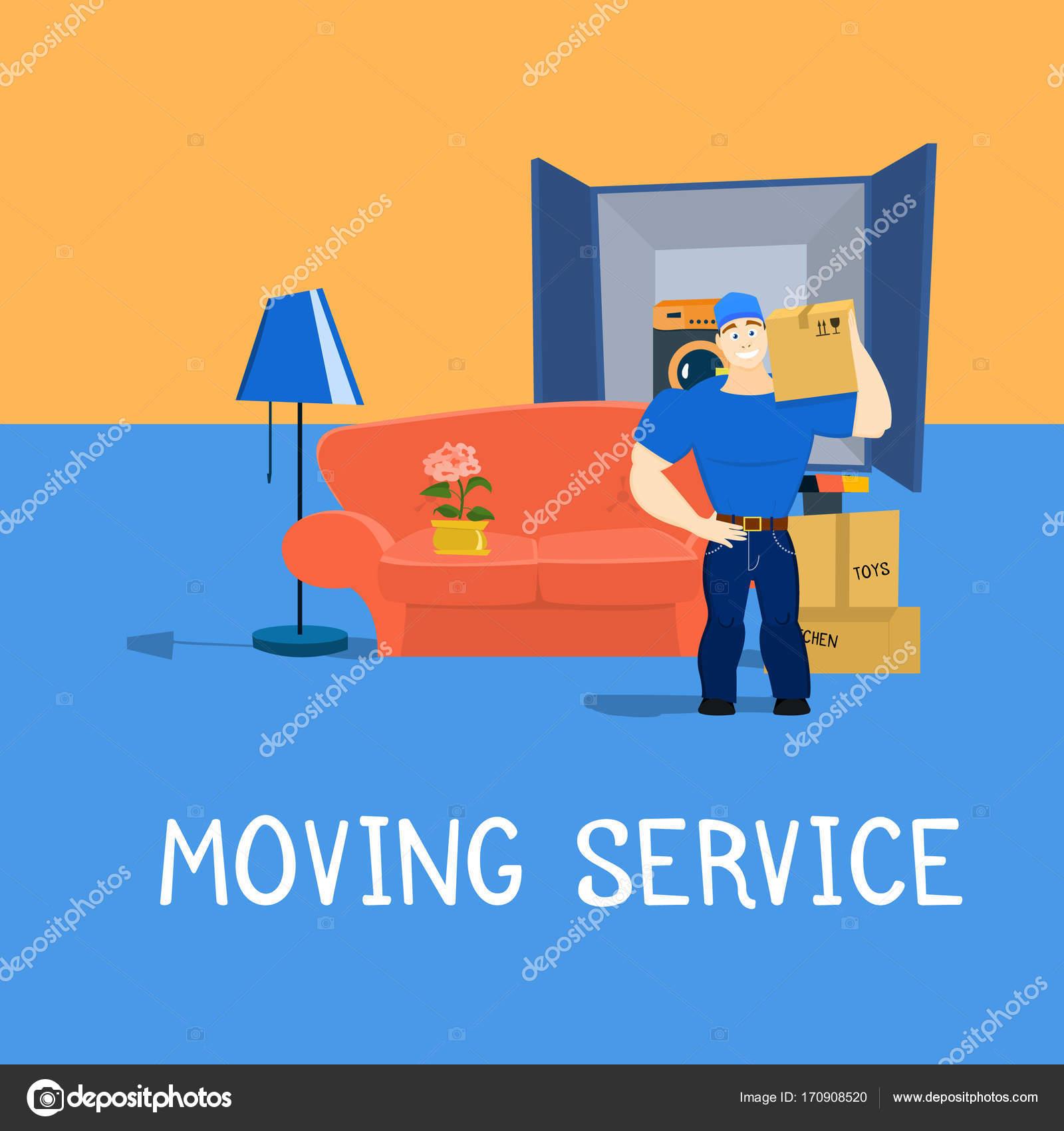 Tipo De Servicio M Vil Con Muebles Y Mudanza Carro Vector  # Muebles Y Mudanzas