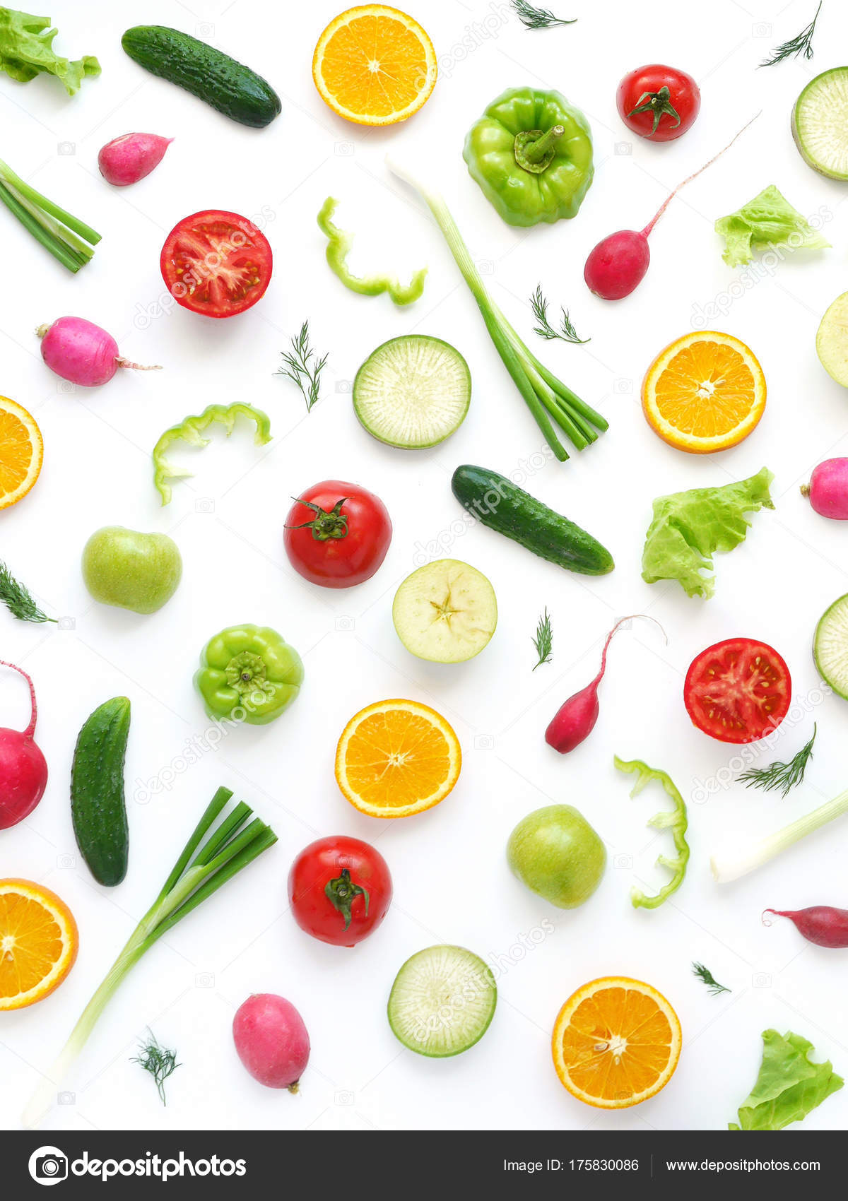 Wallpaper Abstract Composition Fruits Vegetables Food
