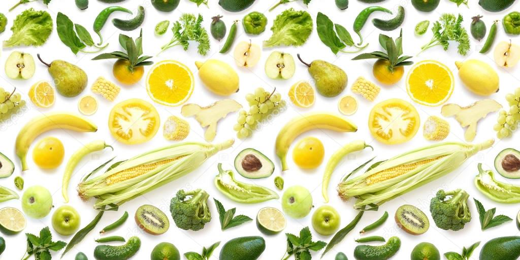 Food Texture Seamless Pattern Various Fresh Yellow Green ...
