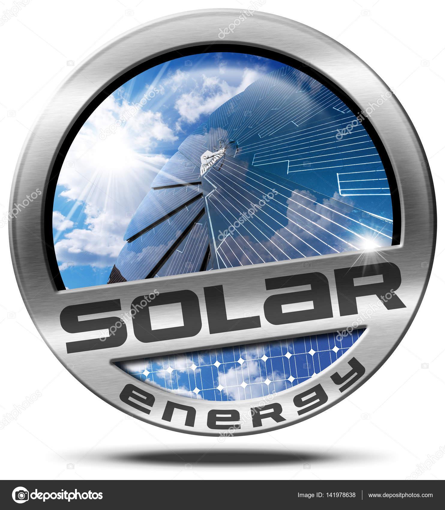 Energía solar - símbolo de Metal con Panel Solar — Foto de stock ...