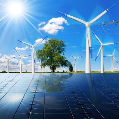 Solar Panels - Wind Turbines - Power Line