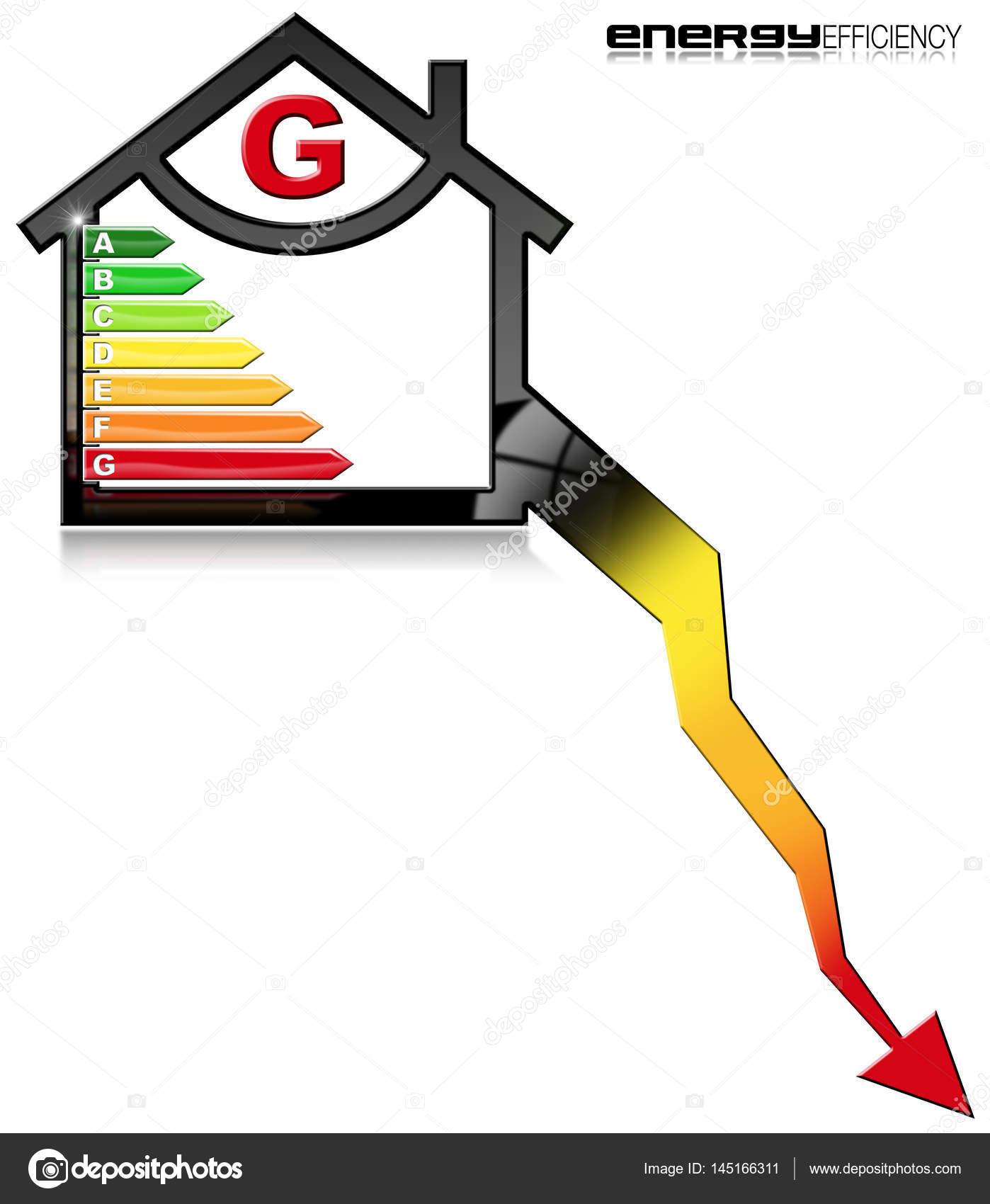 Efficienza Energetica G Simbolo A Forma Di Casa Foto Stock