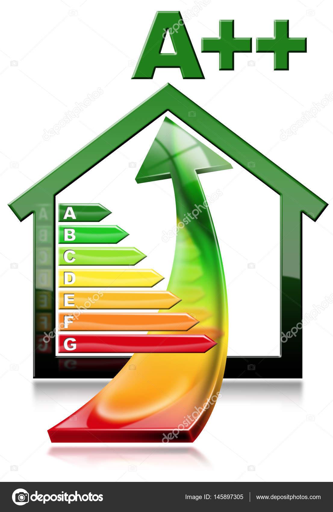Efficienza energetica - casa con risparmio energetico — Foto Stock ...