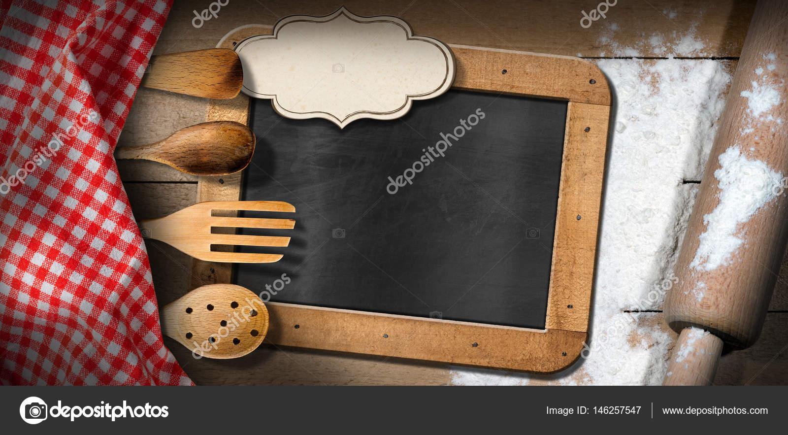 Lavagna - utensili da cucina di farina - mattarello- — Foto Stock ...