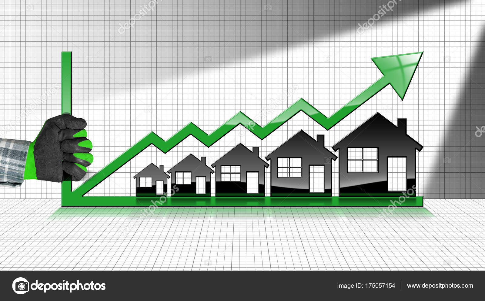 Growing Real Estate Sales Graph With Houses Stock Photo
