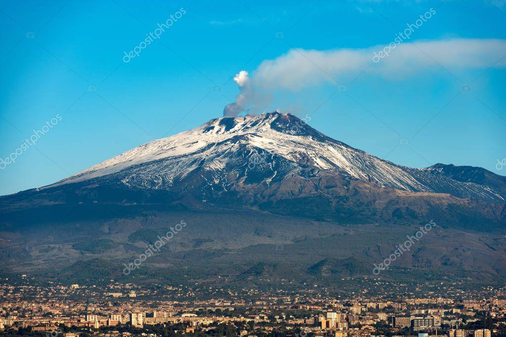 Mount Etna Volcano and Catania - Sicily Italy