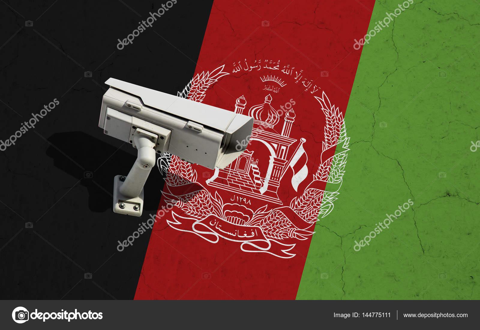 CCTV cámara de seguridad en el fondo de la bandera de Afganistán en ...