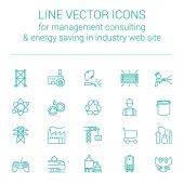 Fényképek Vonal vektoros ikonok, gyártás, vezetési tanácsadás, gyors válasz és energiatakarékos ipari webhely