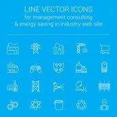 Fényképek Vonal vektoros ikonok a vezetési tanácsadás és energiatakarékos ipari webhely
