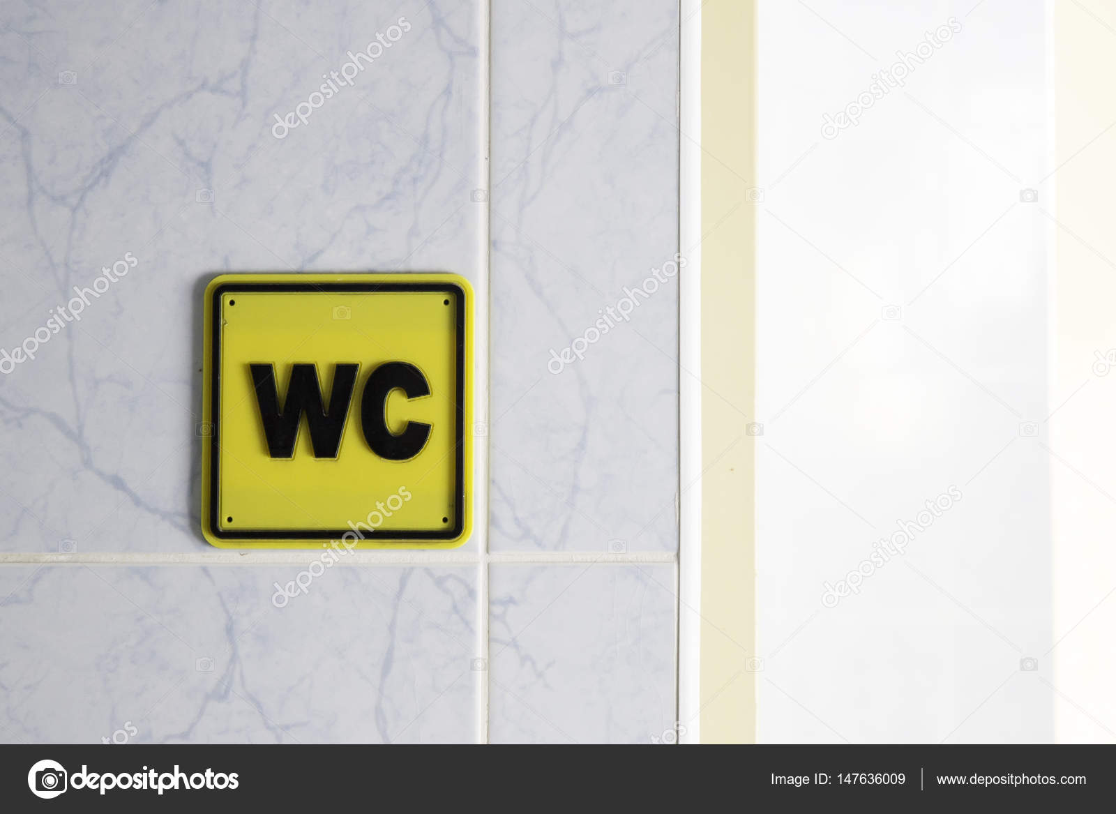 WC Water Closet Toilet Sign On Wall U2014 Stock Photo #147636009