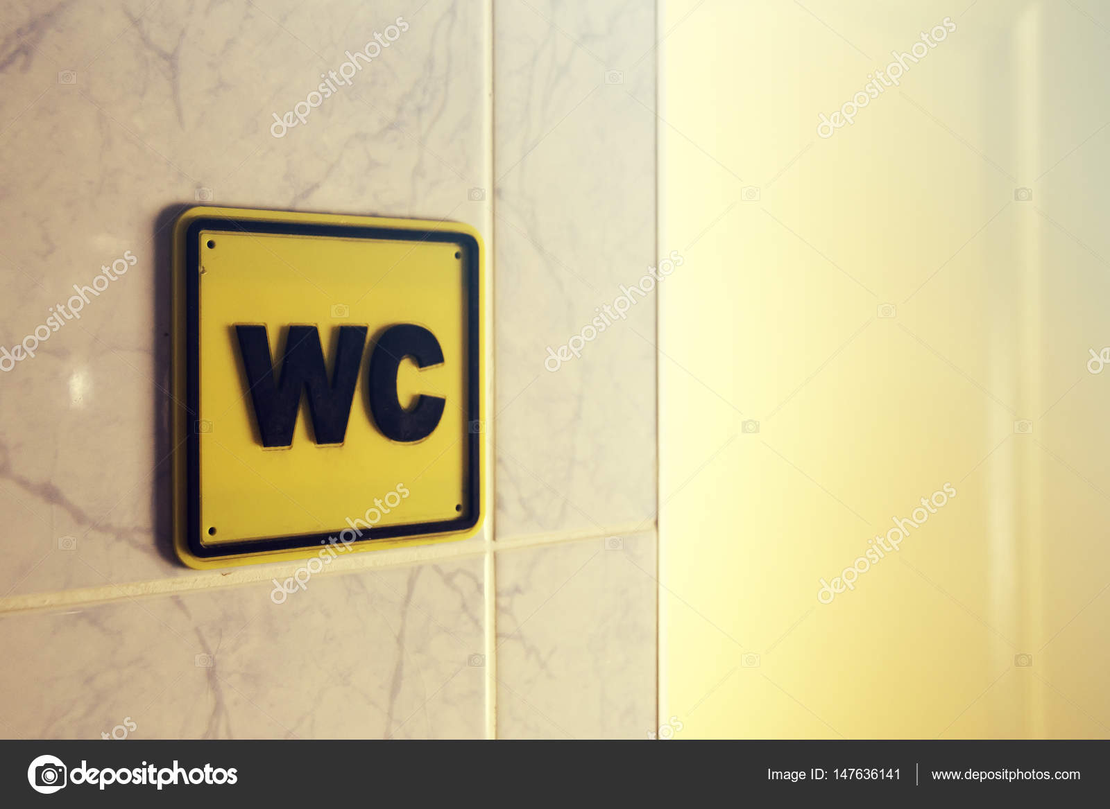 wc water closet sign of male and female toilet stock photo
