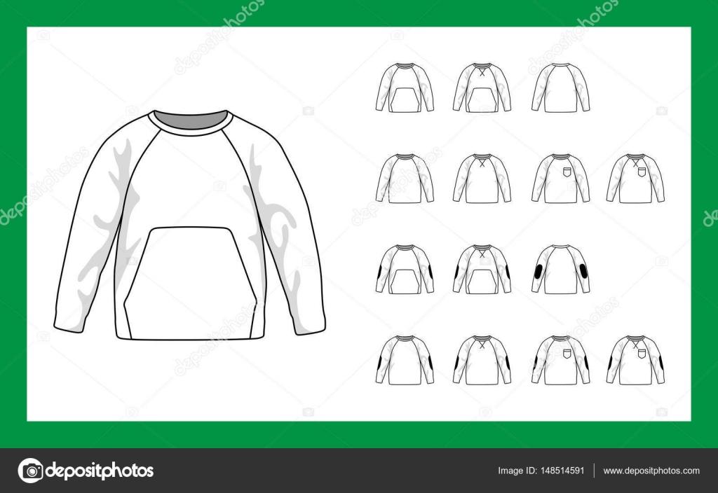 Vektor Vorlage Illustrationen Kinder Sweatshirt mit Raglan Ärmel ...