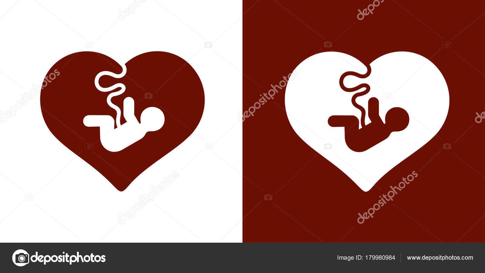 Bebé dentro de corazón y el cordón umbilical — Vector de stock ...