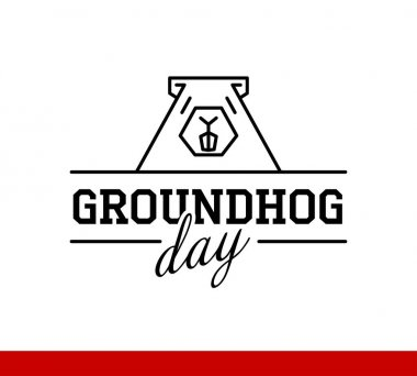 Schematic image of Groundhog and words Groundhog Day on white background clip art vector