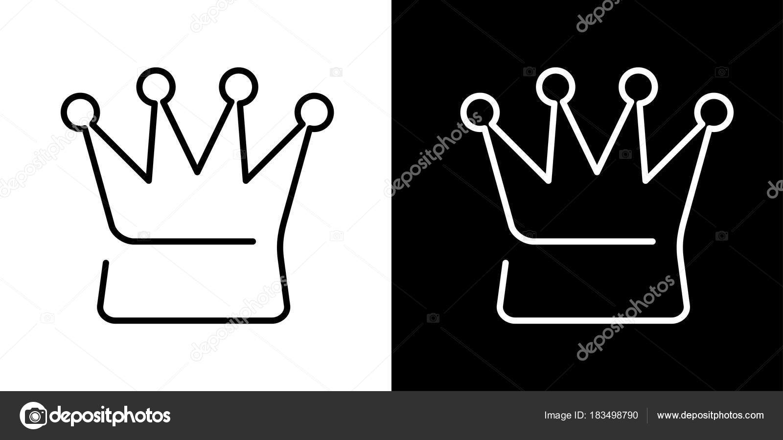 Queen Crown Sign Black And White Icons And Line Icon On Chess B