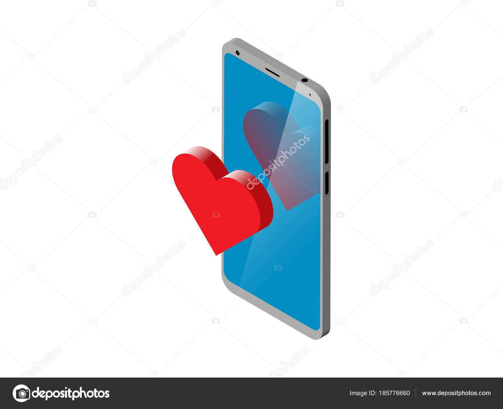 Isometric Smartphone With 3d Notification Heart Symbol On Display