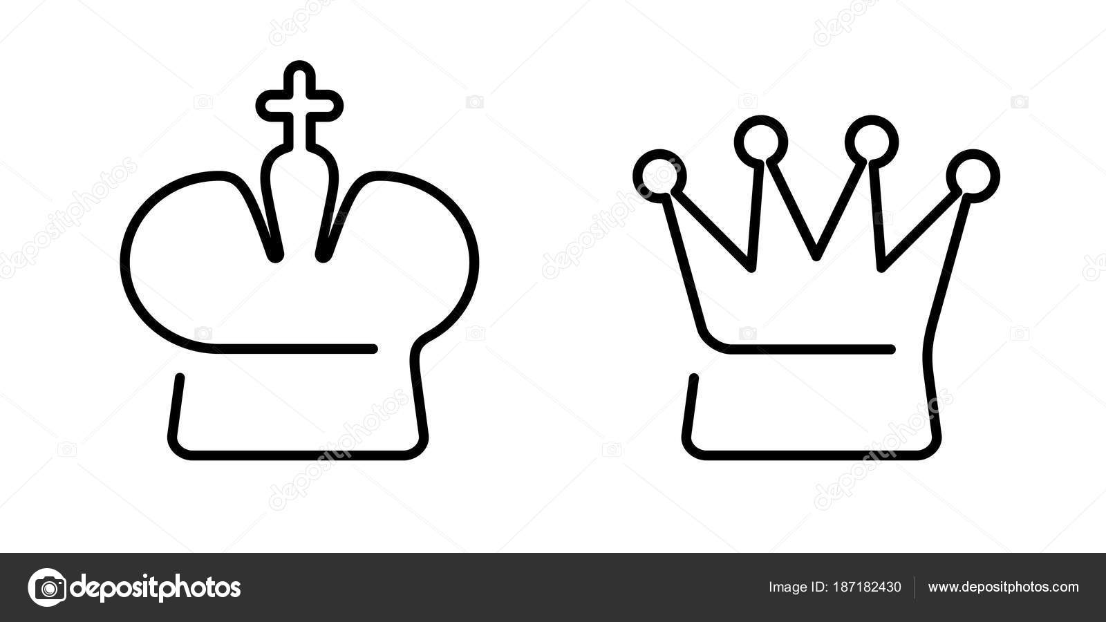 Crown of king and queen chess symbols icons stock vector linear crown of king and queen on white chess symbols icons schematically vector by azatvaleev biocorpaavc Gallery