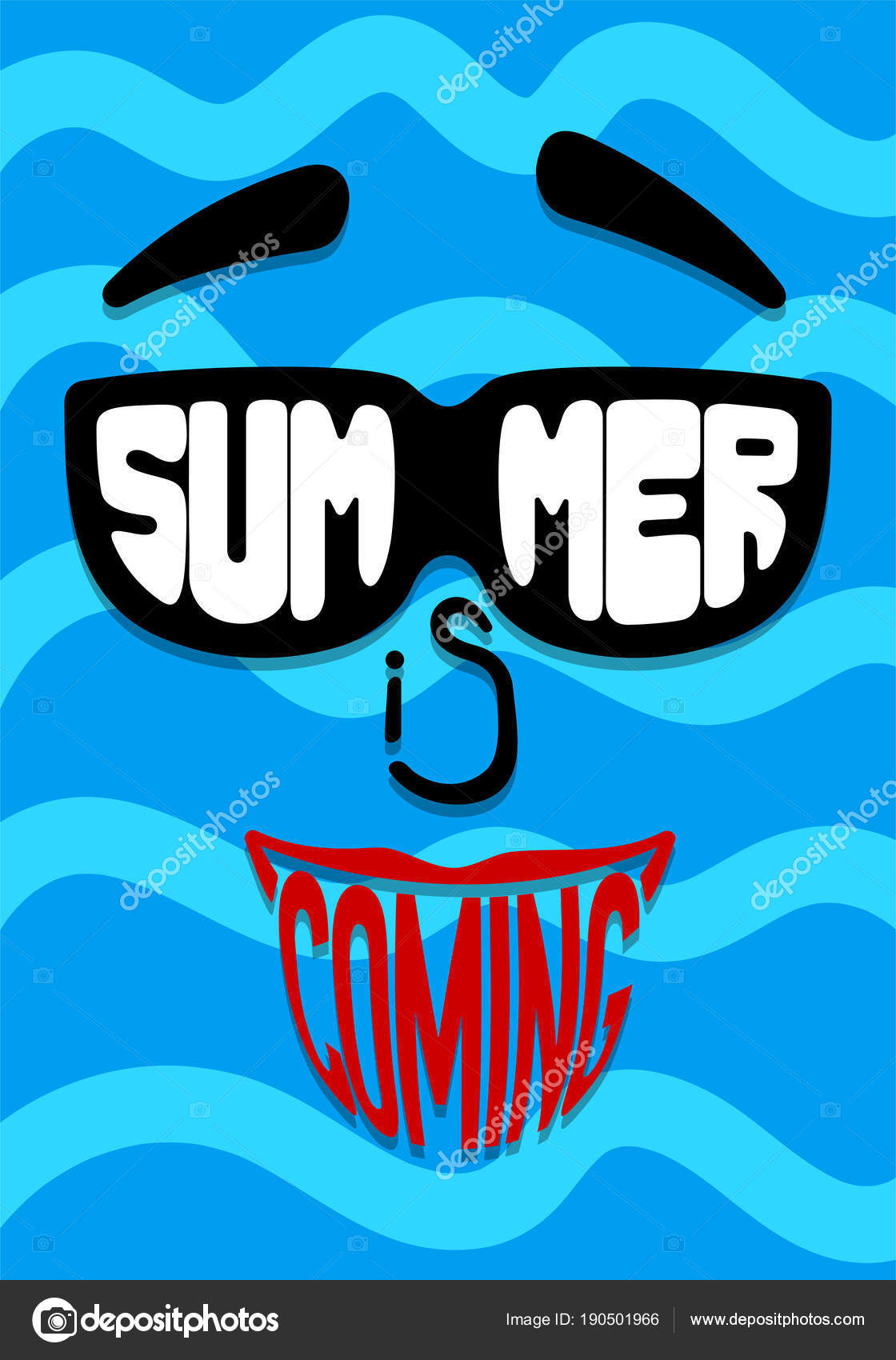 Nice Face In Sunglasses With Inscription Summer Is Coming. Backdrop Sea U2014 Stock  Vector