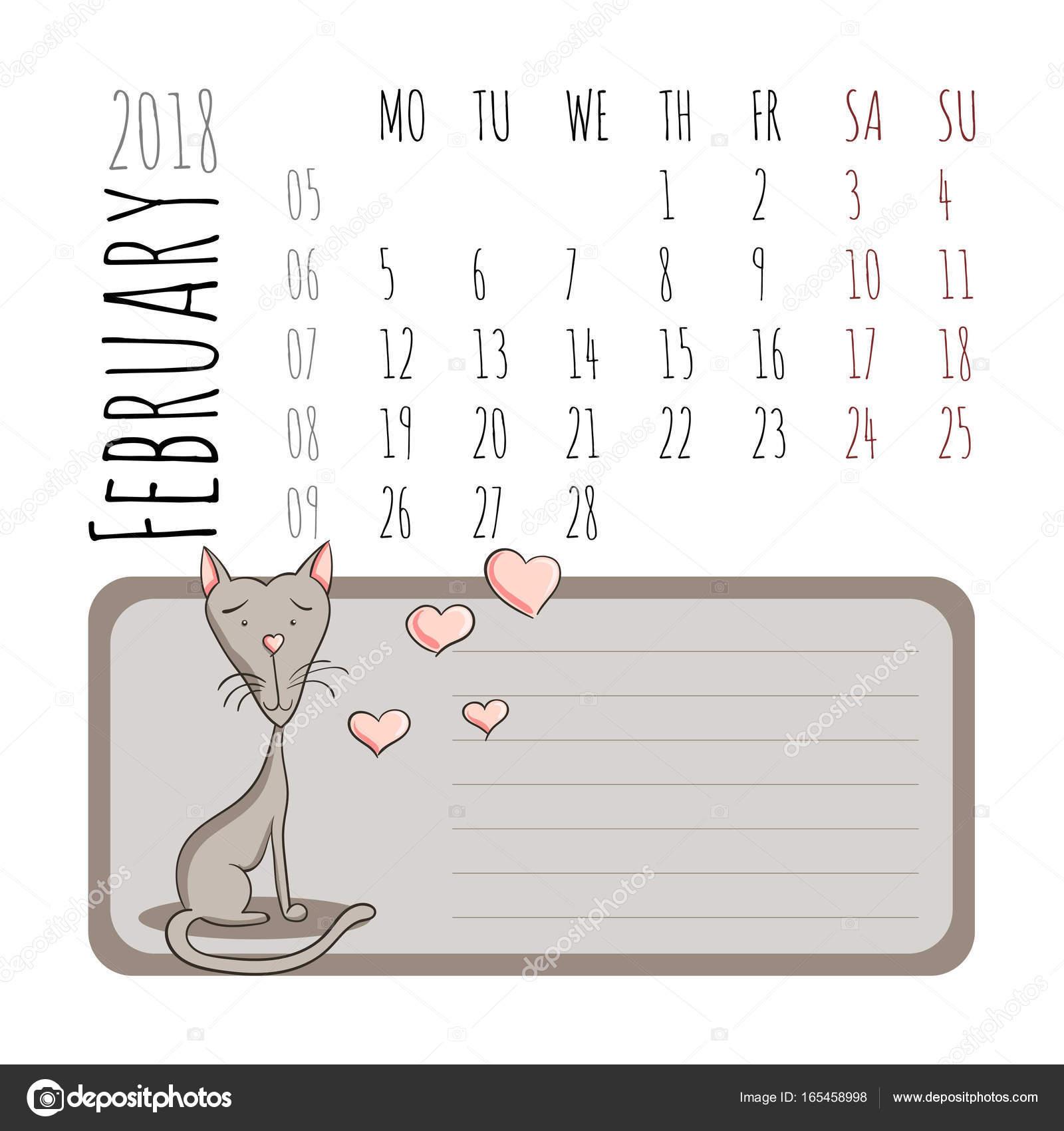 Calendario De Dibujos Animados De Gatos 2018 Comienza El Lunes