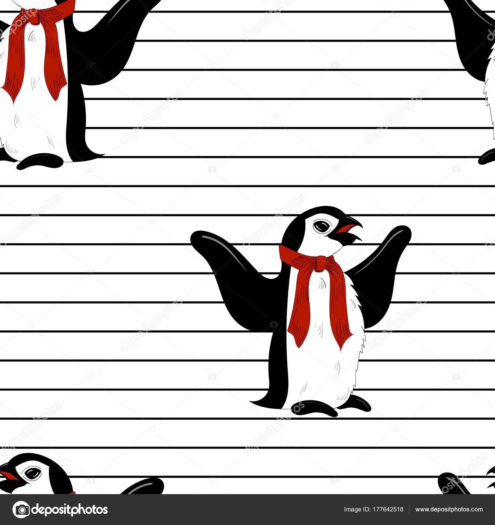 Pingüinos de Navidad invierno sin costura en el patrón de la bufanda ...