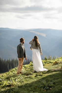 Newlyweds stand and look into distance in mountains.