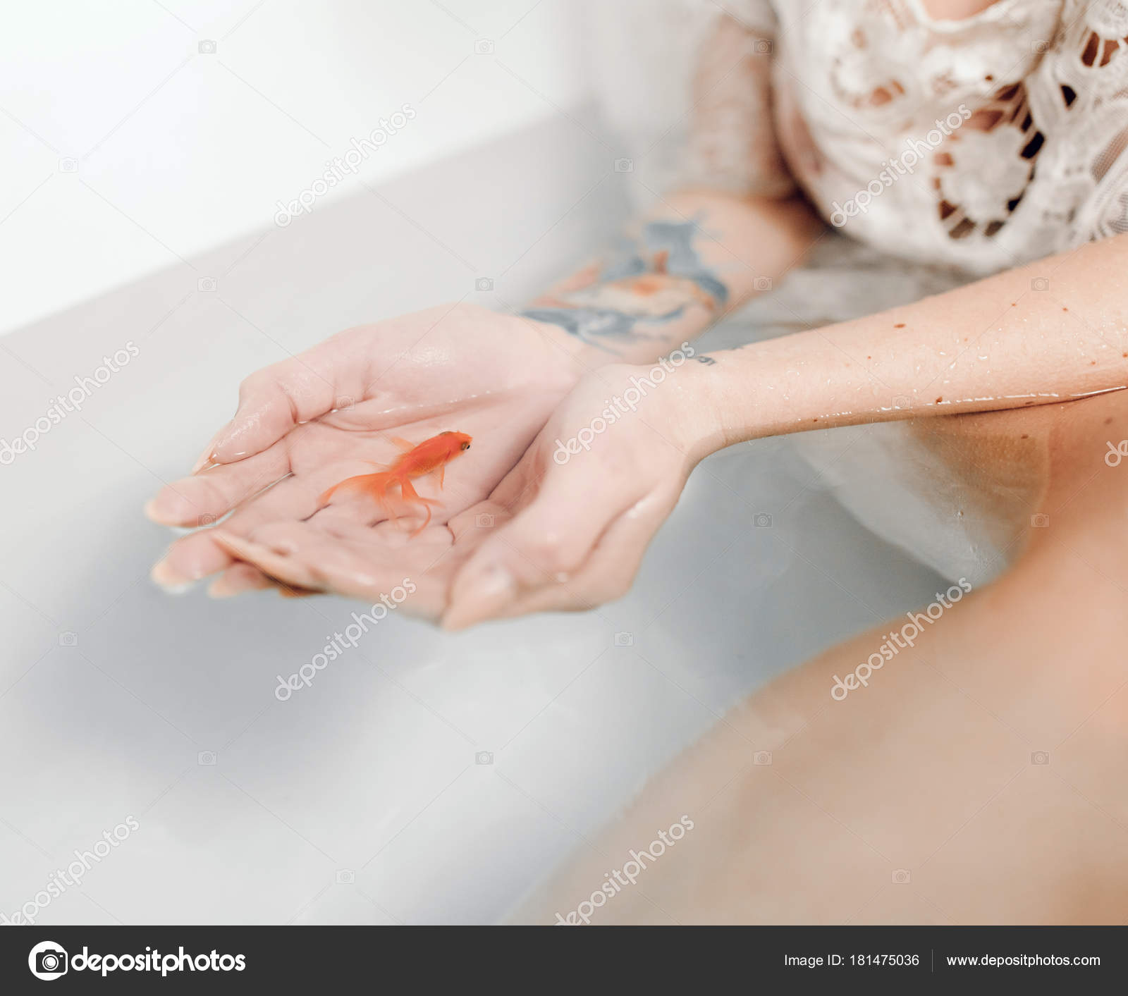 Woman\'s hands in bathtub with water hold goldfish in her palms ...