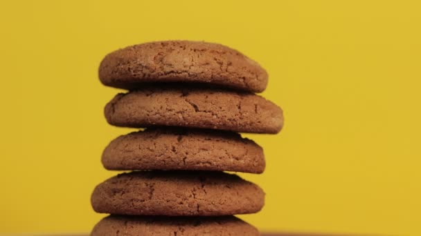 A Stack of Gluten Free Oatcakes on Yellow Background. Healthy Food Concept.