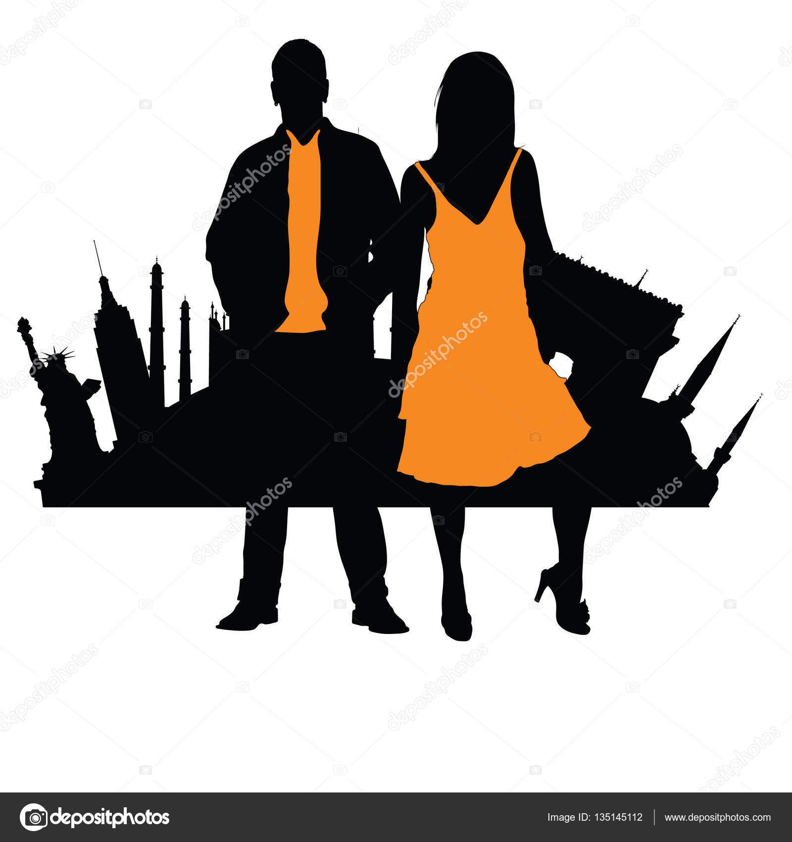 有名なモニュメントの図のカップル シルエット前面 — ストックベクター