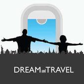 Pár cestovních s historickými památkami silueta ilustrace