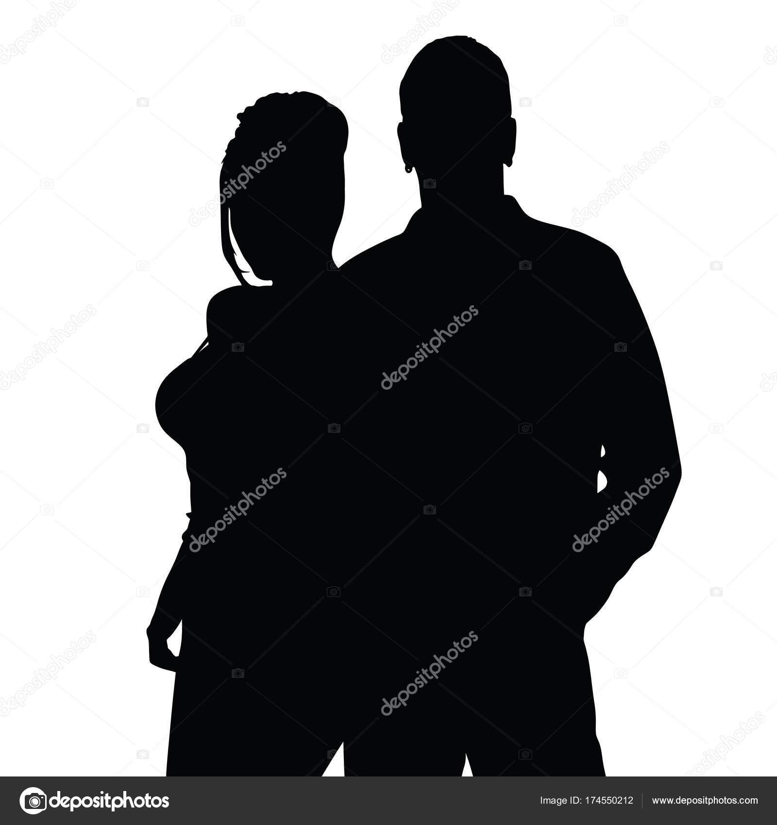 ブラック カラーの図で幸せなカップルのシルエット — ストックベクター