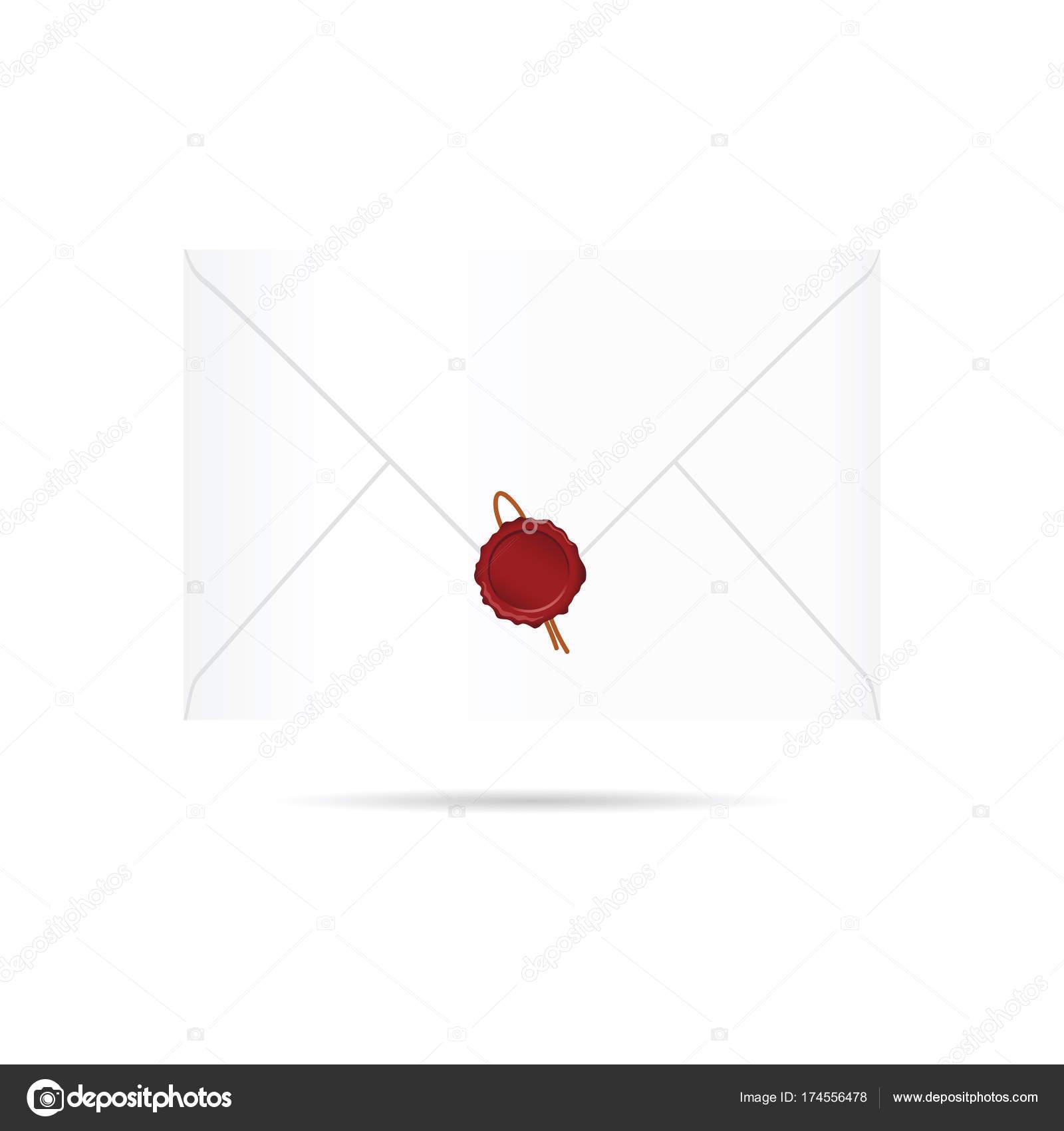 赤いシール ワックス イラスト レター封筒 ストックベクター Drgaga